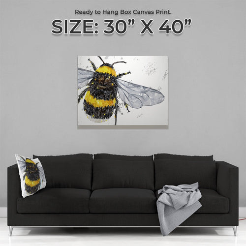 """The Bee"" (Grey Background) Large Canvas Print"