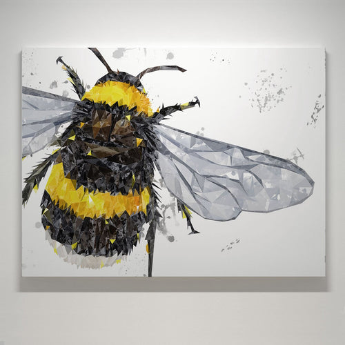 """The Bee"" (Grey Background) Small Canvas Print"
