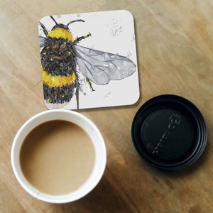 """The Bee"" (Grey Background) Coaster"