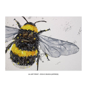 """The Bee"" (Grey Background) A4 Unframed Art Print - Andy Thomas Artworks"
