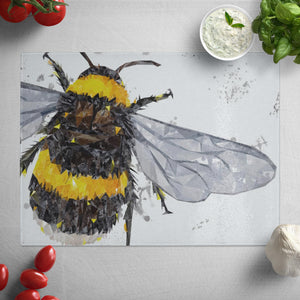 """The Bee"" (Grey Background) Glass Worktop Saver"