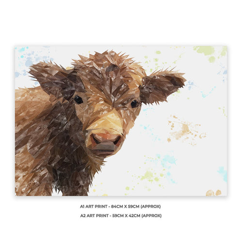 """Buckley"" The Highland Calf A1 Unframed Art Print"