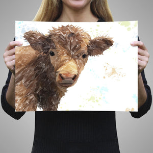 """Buckley"" The Highland Calf A3 Unframed Art Print - Andy Thomas Artworks"