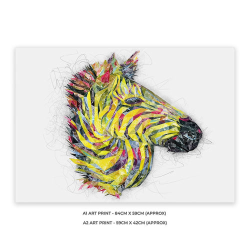 """The Punk Zebra"" A1 Unframed Art Print"