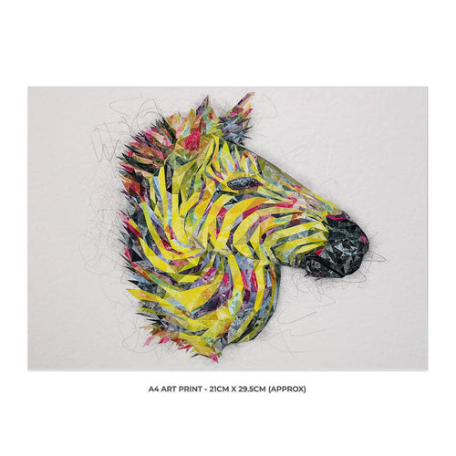 """The Punk Zebra"" A4 Unframed Art Print"