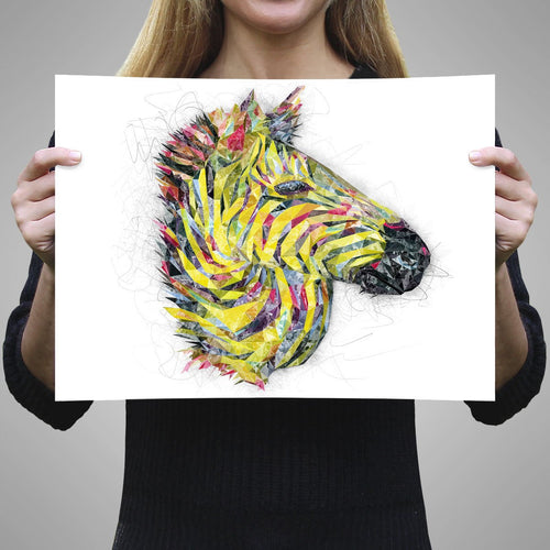 """The Punk Zebra"" A3 Unframed Art Print"
