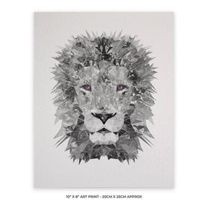"""The Lion"" (B&W) 10"" x 8"" Unframed Art Print - Andy Thomas Artworks"