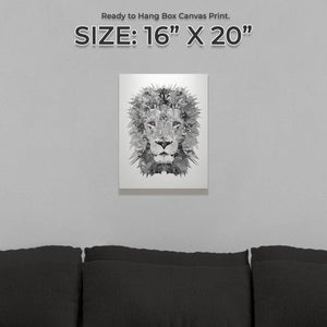 """The Lion"" (B&W) Small Canvas Print - Andy Thomas Artworks"