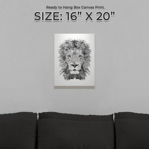 """The Lion"" (B&W) Small Canvas Print"