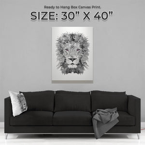 """The Lion"" (B&W) Large Canvas Print - Andy Thomas Artworks"