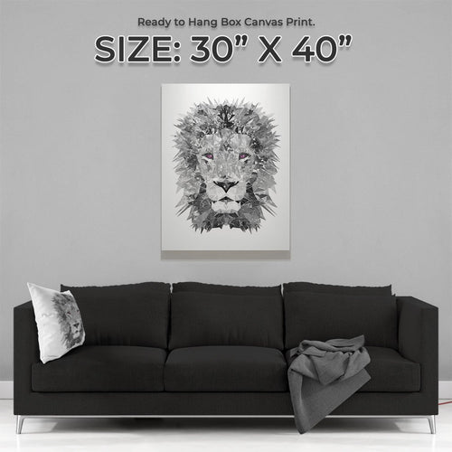 """The Lion"" (B&W) Large Canvas Print"