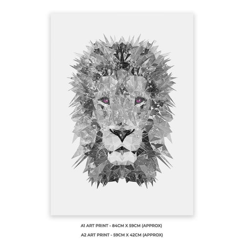 """The Lion"" (B&W) A1 Unframed Art Print"