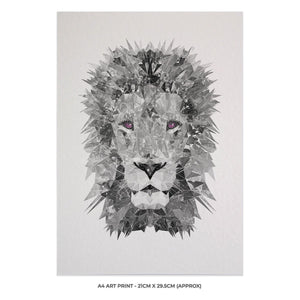 """The Lion"" (B&W) A4 Unframed Art Print - Andy Thomas Artworks"