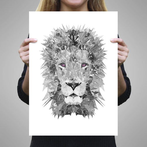 """The Lion"" (B&W) A2 Unframed Art Print"