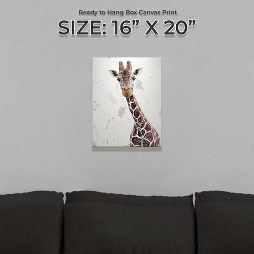 """George"" The Giraffe (Grey Background) Small Canvas Print"