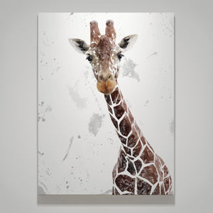 """George"" The Giraffe (Grey Background) Large Canvas Print - Andy Thomas Artworks"