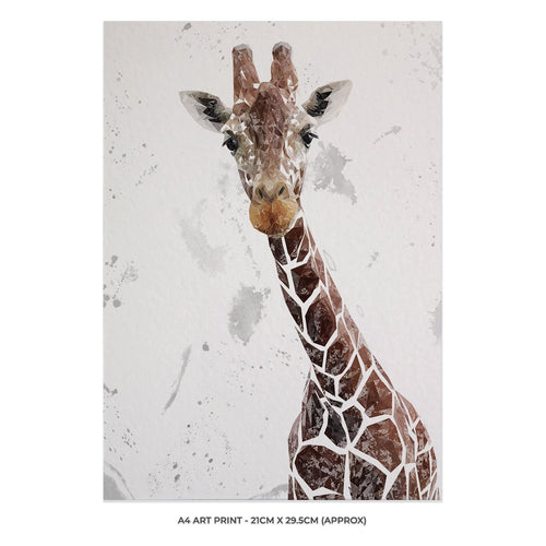 """George"" The Giraffe (Grey Background) A4 Unframed Art Print"