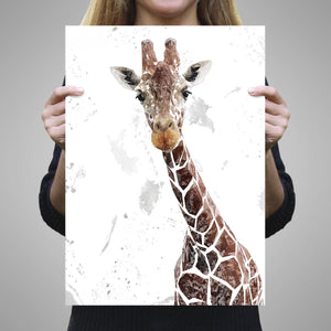 """George"" The Giraffe (Grey Background) A1 Unframed Art Print - Andy Thomas Artworks"