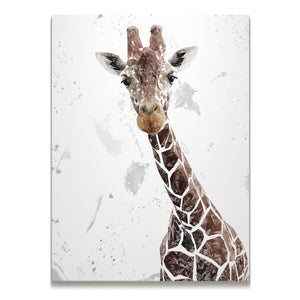 """George"" The Giraffe (Grey Background) Skinny Canvas Print - Andy Thomas Artworks"