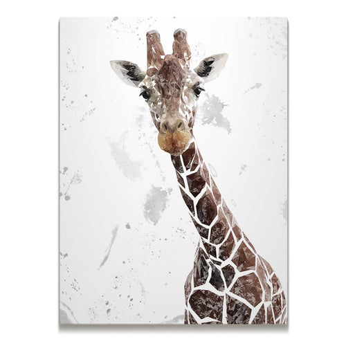"""George"" The Giraffe (Grey Background) Skinny Canvas Print"