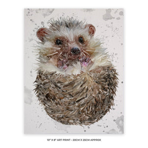 """Milton"" The Hedgehog (Grey Background) 10"" x 8"" Unframed Art Print - Andy Thomas Artworks"