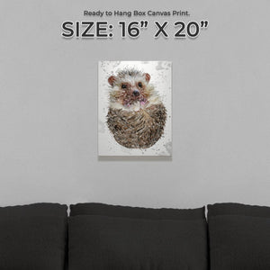 """Milton"" The Hedgehog (Grey Background) Small Canvas Print"