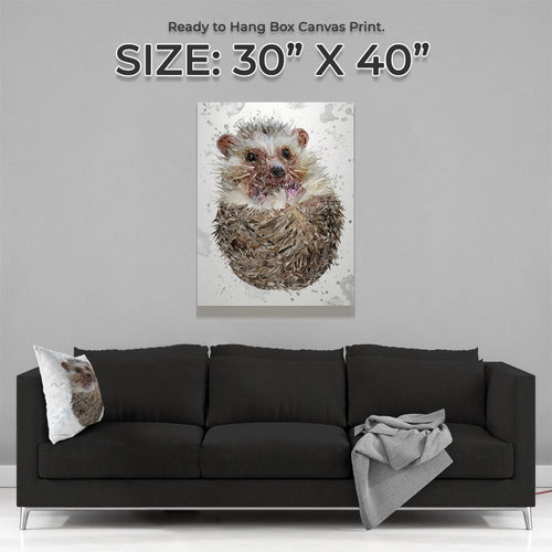 """Milton"" The Hedgehog (Grey Background) Large Canvas Print"