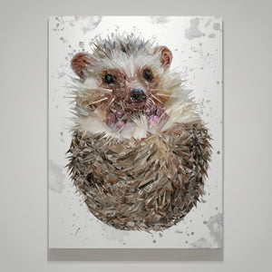 """Milton"" The Hedgehog (Grey Background) Large Canvas Print - Andy Thomas Artworks"