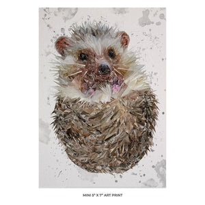 """Milton"" The Hedgehog (Grey Background) 5x7 Mini Print - Andy Thomas Artworks"