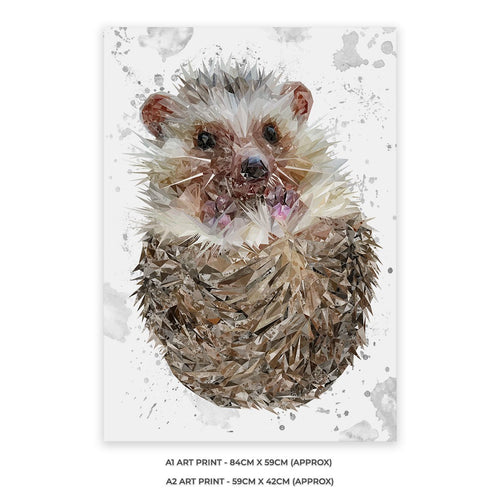 """Milton"" The Hedgehog (Grey Background) Unframed Art Print"