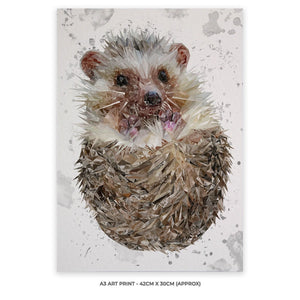"""Milton"" The Hedgehog (Grey Background) A3 Unframed Art Print - Andy Thomas Artworks"