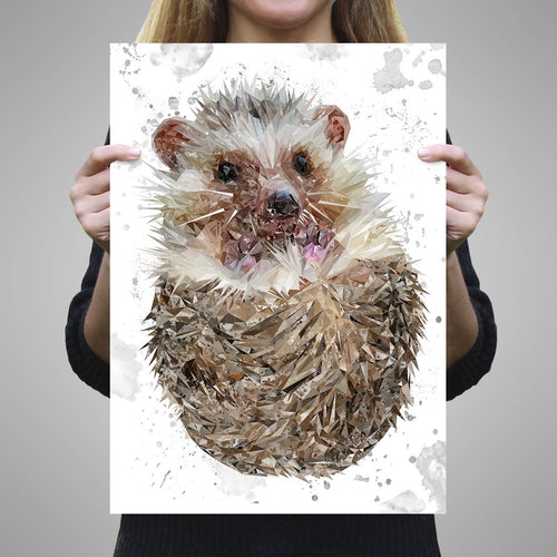 """Milton"" The Hedgehog (Grey Background) A1 Unframed Art Print"