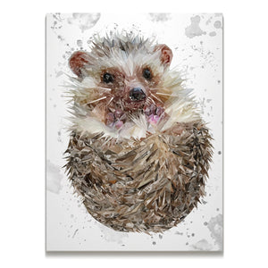 """Milton"" The Hedgehog (Grey Background) Skinny Canvas Print"