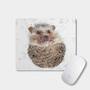 """Milton"" The Hedgehog (Grey Background) Mousemat - Andy Thomas Artworks"