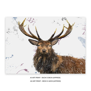 """Rory"" The Stag A1 Unframed Art Print - Andy Thomas Artworks"
