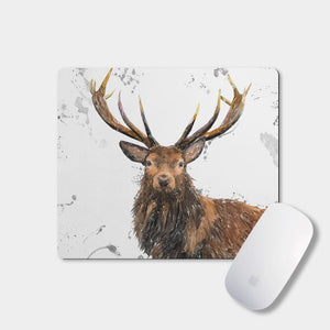 """Rory"" The Stag (Grey Background) Mousemat - Andy Thomas Artworks"