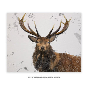 """Rory"" The Stag (Grey Background) 10"" x 8"" Unframed Art Print - Andy Thomas Artworks"
