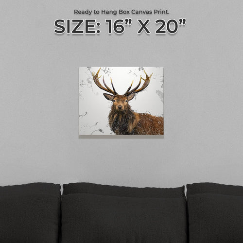 """Rory"" The Stag (Grey Background) Small Canvas Print"