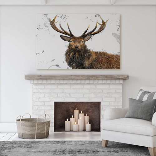 """Rory"" The Stag (Grey Background) Massive Canvas Print"