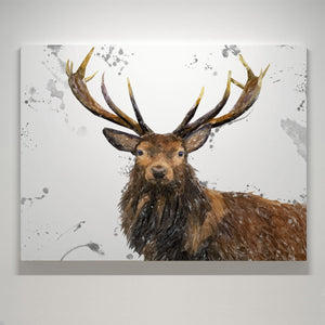 """Rory"" The Stag (Grey Background) Small Canvas Print - Andy Thomas Artworks"
