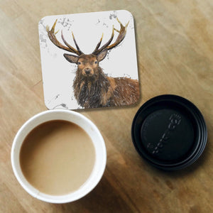 """Rory"" The Stag (Grey Background) Coaster - Andy Thomas Artworks"