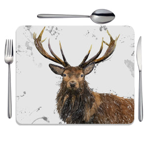 """Rory"" The Stag (Grey Background) Placemat - Andy Thomas Artworks"