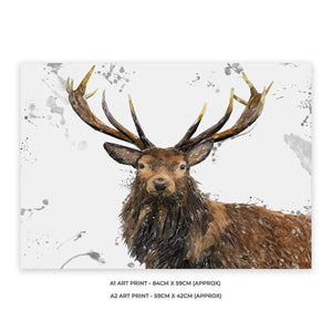 """Rory"" The Stag (Grey Background) A2 Unframed Art Print - Andy Thomas Artworks"
