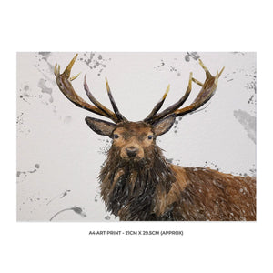 """Rory"" The Stag (Grey Background) A4 Unframed Art Print - Andy Thomas Artworks"