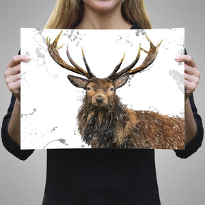 """Rory"" The Stag (Grey Background) A1 Unframed Art Print - Andy Thomas Artworks"