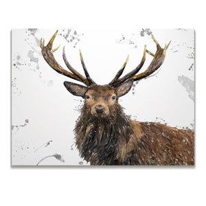 """Rory"" The Stag (Grey Background) Skinny Canvas Print - Andy Thomas Artworks"