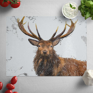 """Rory"" The Stag (Grey Background) Glass Worktop Saver"