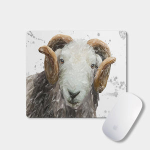 """Stanley"" The Herdwick Ram (Grey Background) Mousemat - Andy Thomas Artworks"