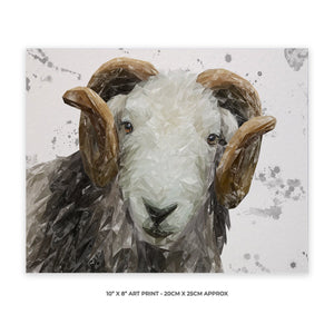 """Stanley"" The Herdwick Ram (Grey Background) 10"" x 8"" Unframed Art Print - Andy Thomas Artworks"
