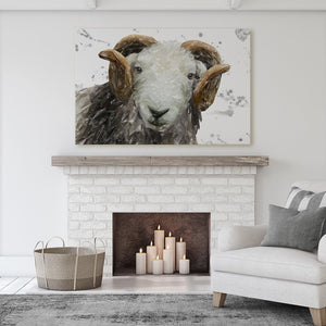"""Stanley"" The Herdwick Ram (Grey Background) Massive Canvas Print"
